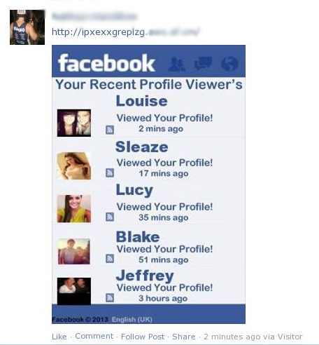 Your Recent Profile Viewer's – Facebook Scam
