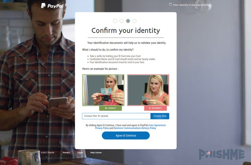 PayPal phishing page asking for a selfie