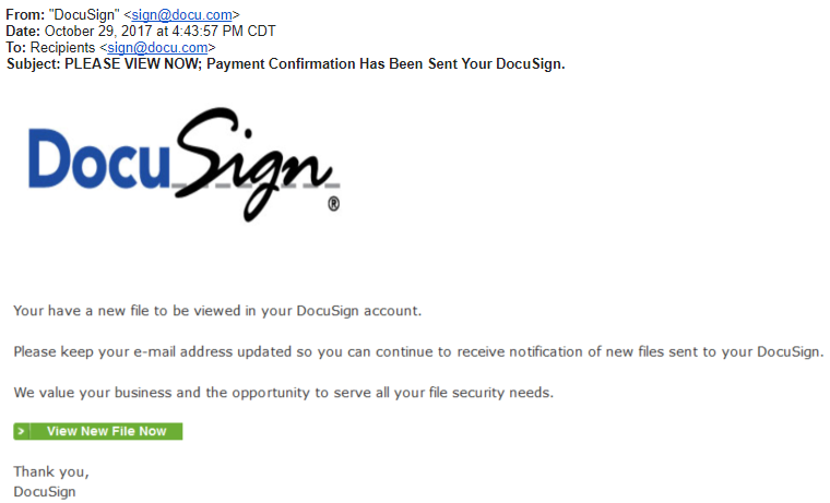 DocuSign Scam Email