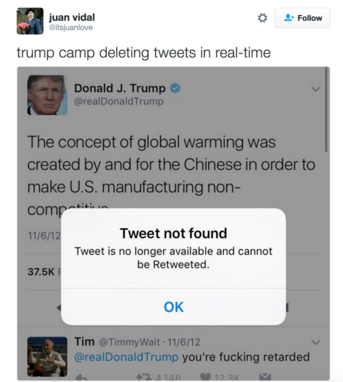 trump deletes tweets