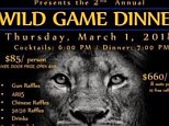 The South Lyon High School football team was going to raffle off an AR-15 during a charity dinner on March 1. Pictured is the poster used to advertise the 'Wild Game Dinner'