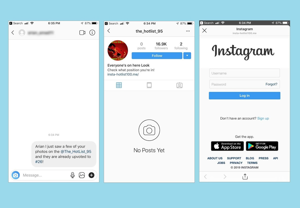Beware! The HotList is a new Instagram Phishing Scam Attack