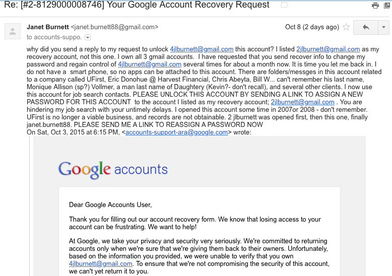 Google take accounts hostage if users/owners of email accounts will not give them all their personal contact information