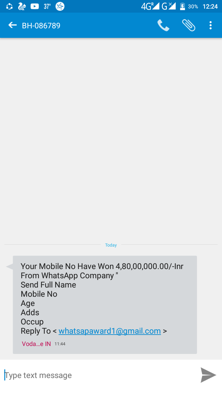 Your Mobile No Have Won 4,80,00,000 00/-Inr From WhatsApp
